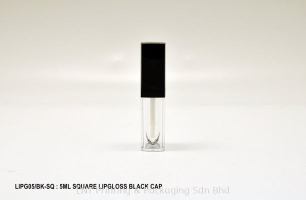LIPG05/BK-SQ: 5ML SQUARE LIPGLOSS BLACK CAP