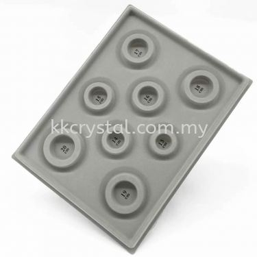 Bead Board, Grey with Flocking with 8 Round Grooves for Bracelets, 1pcs