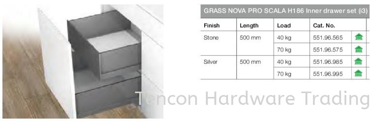 Grass Nova Pro Scala H186 Inner Drawer Set Nova Pro Scala Drawer Runner Hafele Kitchen Solution