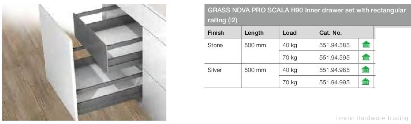 Grass Nova Pro Scala H90 Inner Drawer Set With Rectangular Railing
