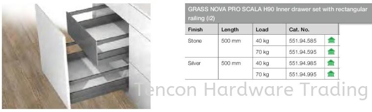 Grass Nova Pro Scala H90 Inner Drawer Set With Rectangular Railing Nova Pro Scala Drawer Runner Hafele Kitchen Solution