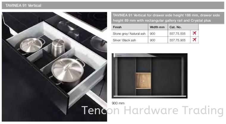 TAVINEA 91 Vertical H89 with Rectangular Gallery Rail TAVINEA 91 Drawer Runner Hafele Kitchen Solution