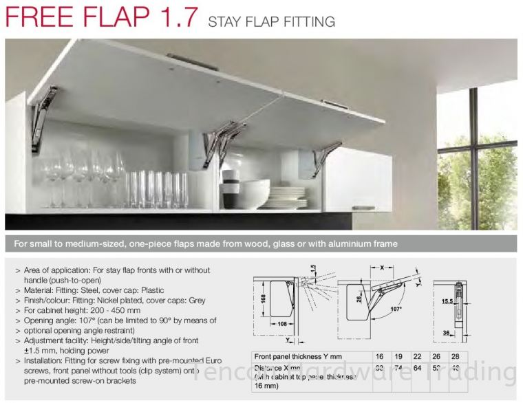 Free Flap 1.7 Stay Flap Fitting Free Flap 1.7 Series Flap Fitting and Hinges Hafele Kitchen Solution