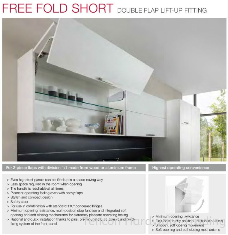 Free Fold Short Double Flap Lift-up Fitting Free Fold Short Series Flap Fitting and Hinges Hafele Kitchen Solution