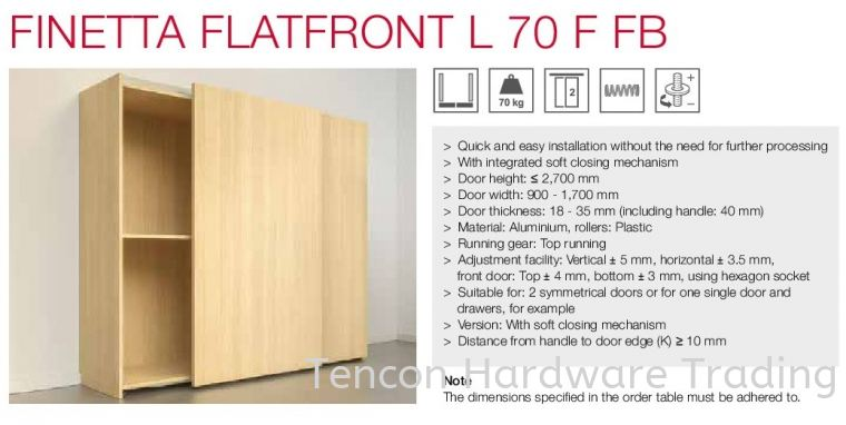 Finetta Flatfront L 70 F FB Finetta Flatfront Slide Door Fitting Hafele Kitchen Solution