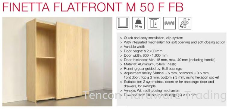Finetta Flatfront M 50 F FB Finetta Flatfront Slide Door Fitting Hafele Kitchen Solution
