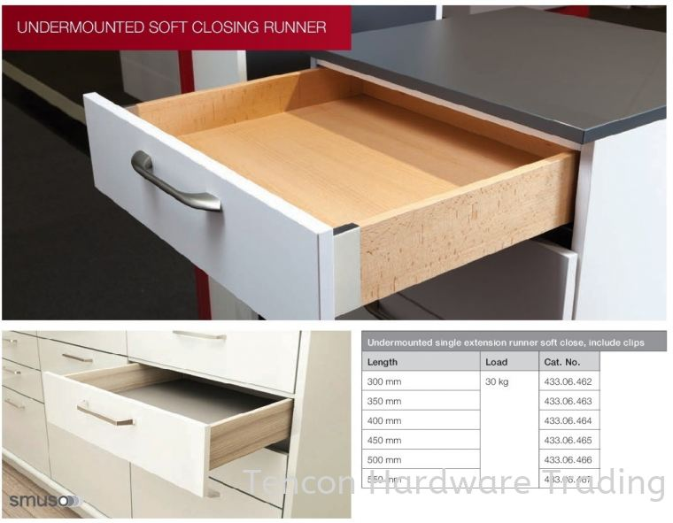 Undermounted Full Extension Runner Soft Close Undermounted Soft Closing Runner Runners System Hafele Wardrobe