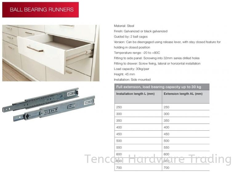 Full Extension, Load Bearing Capacity Up To 30KG Ball Bearing Runner Runners System Hafele Wardrobe