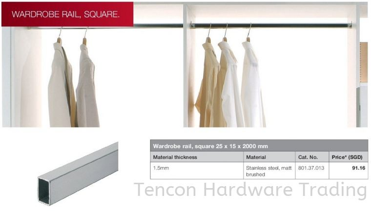 Wardrobe Rail, Square 25 x 15 x 2000mm Wardrobe Rail, Square Wardrobe Hafele Wardrobe