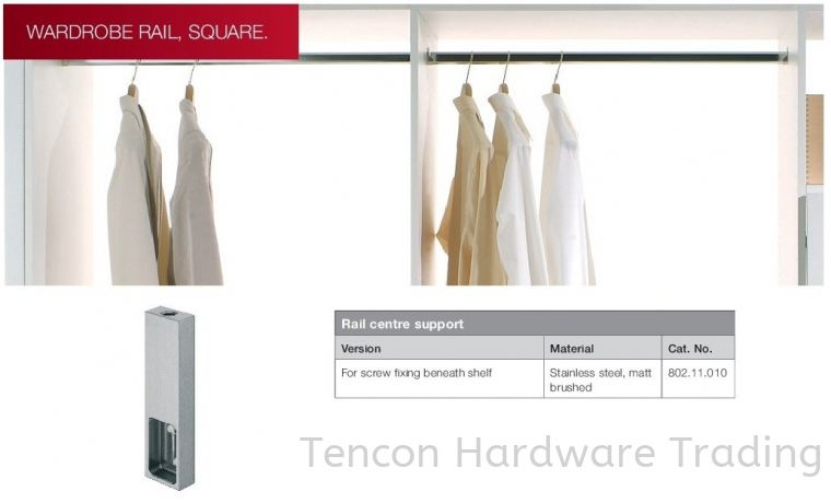 Rail Centre Support Wardrobe Rail, Square Wardrobe Hafele Wardrobe