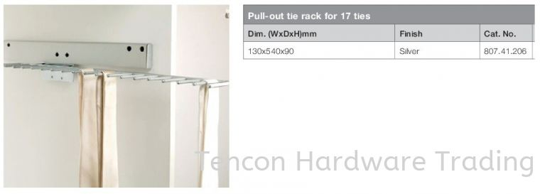 Pull Out Tie Rack for 17 Ties Pull-out Storage System Flexstore Wardrobe Fitting Hafele Wardrobe