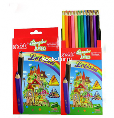 G-Soft Triangular Jumbo 12 Colour Pencils