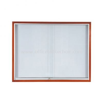 SLIDING GLASS CABINET WOODEN FRAME BROWN COLOUR