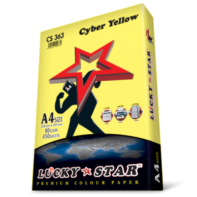 A4 Lucky Star Colour Paper CS363 Cyber Yellow 80gsm 450 sheets