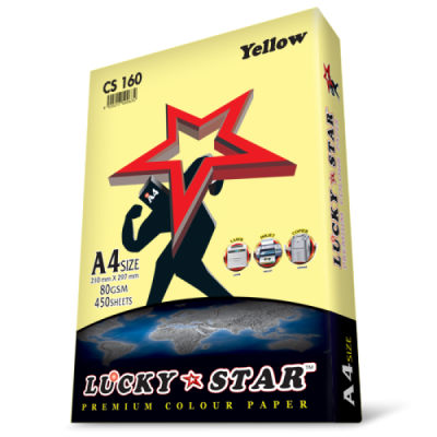 A4 Lucky Star Colour Paper CS160 Yellow 80gsm 450 sheets