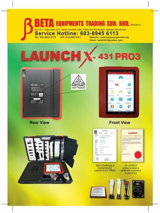 Launch X-431 PRO3 with MCMC - SIRIM Approval