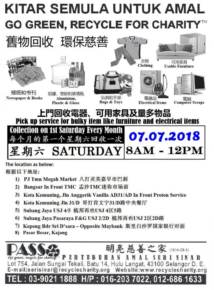 07.07.2018 Saturday P.A.S.S. Mobile Collection Centers
