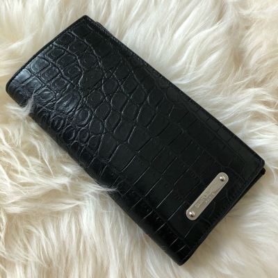 YSL Croc Embossed Leather Long Wallet