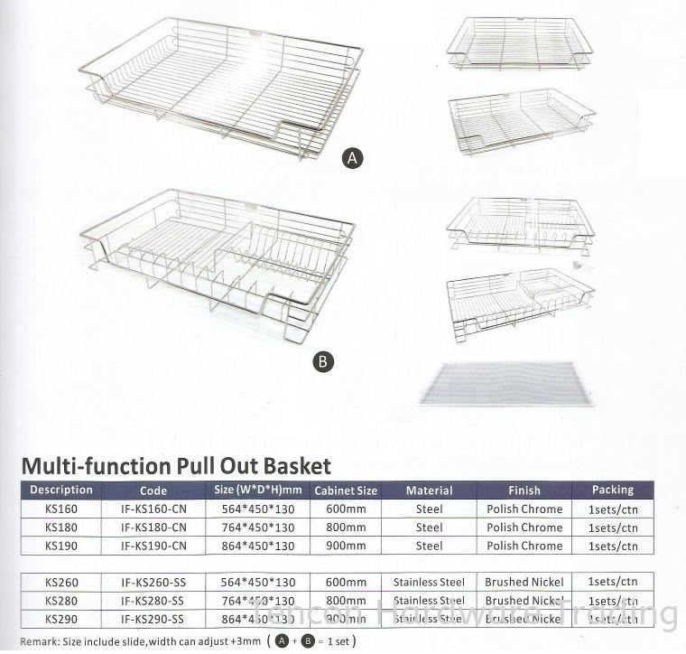 Multi Function Pull Out Basket Pull Out Basket eTen Furniture Hardware