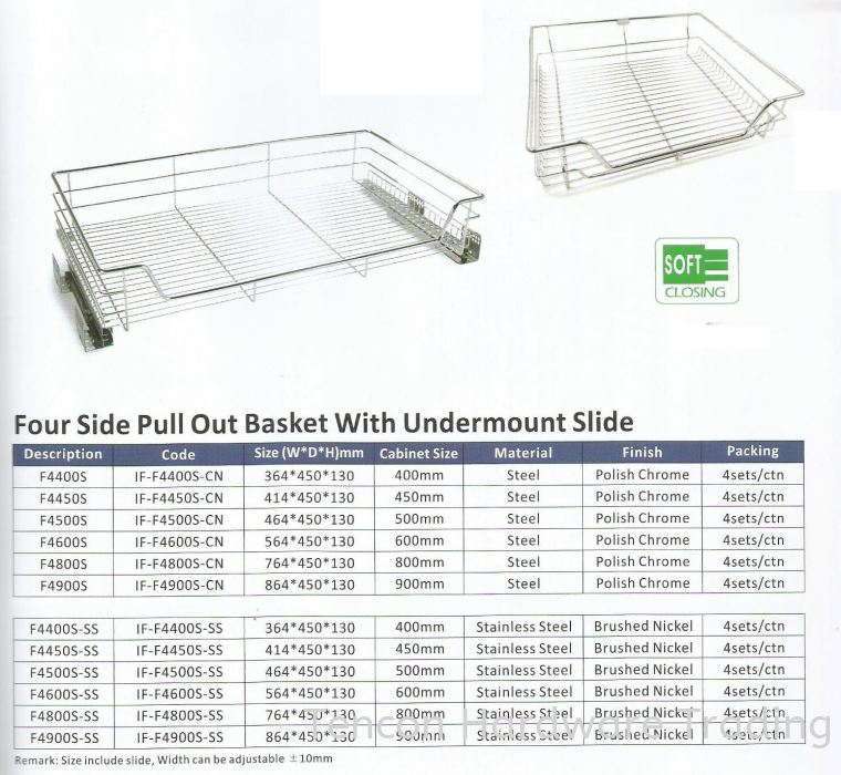 Four Side Pull Out Basket With Undermount Slide Pull Out Basket eTen Furniture Hardware