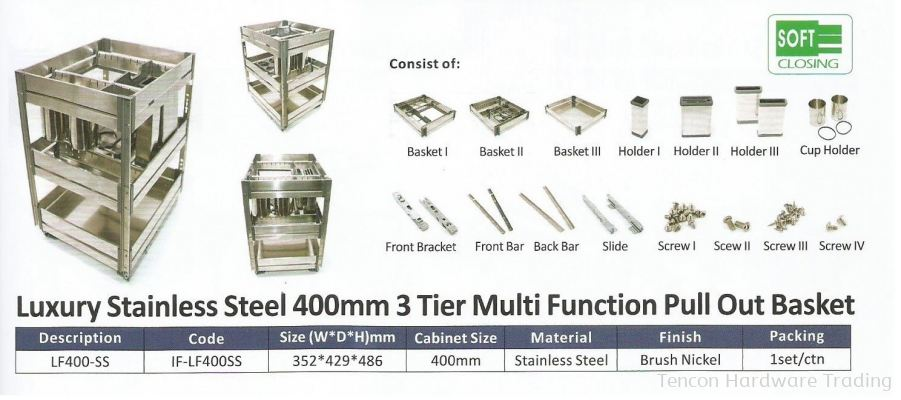 Luxury Stainless Steel 400mm 3 Tier Multi Function Pull Out Basket