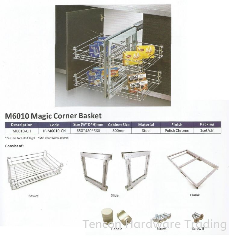 Magic Corner Basket Magic Corner Storage Unit eTen Furniture Hardware