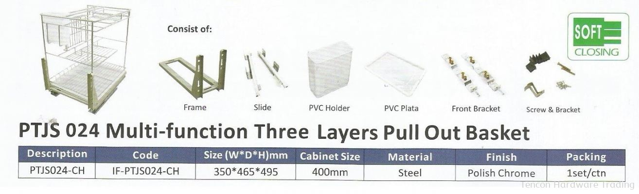Multi Function three Layers Pull Out basket