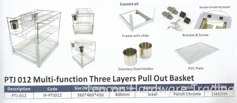 Multi Function Three Layers Pull Out Basket Pull Out Basket eTen Furniture Hardware