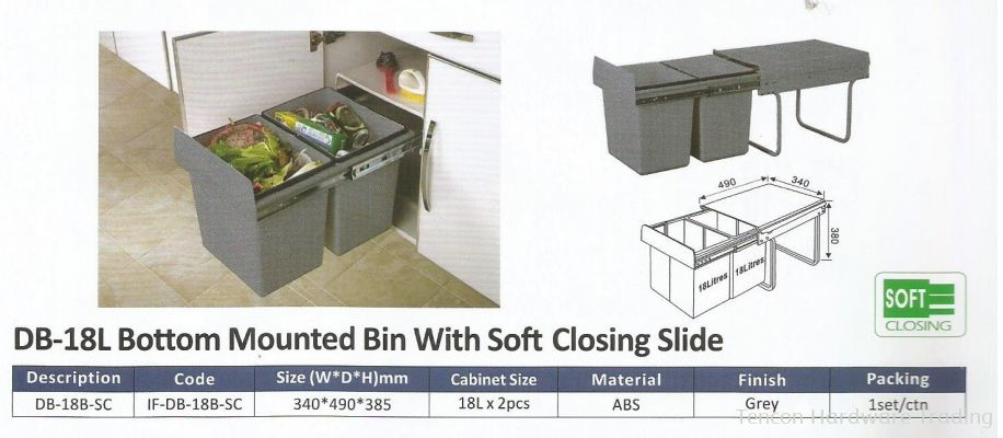 Bottom Mounted Bin With Soft Closing Slide