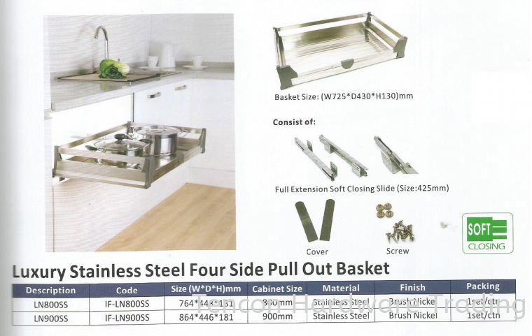 Luxury Stainless Steel Four Side Pull Out Basket Pull Out Basket eTen Furniture Hardware