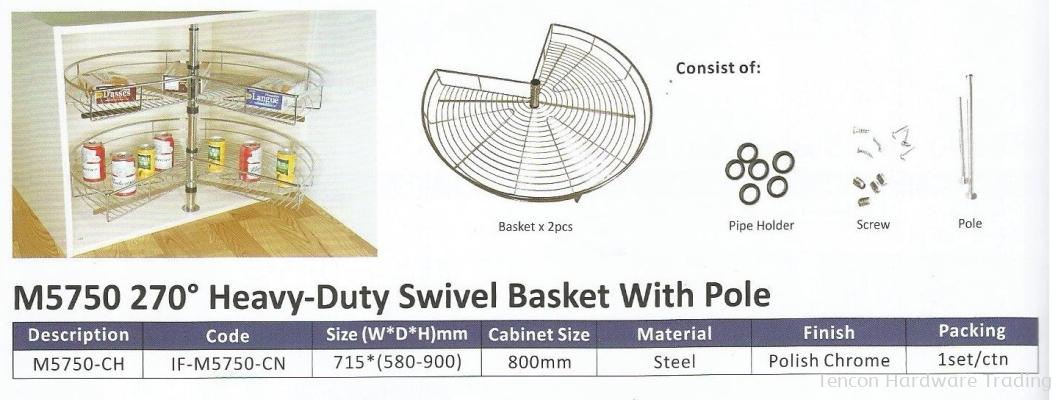 270�� Heavy Duty Swivel Basket With Pole