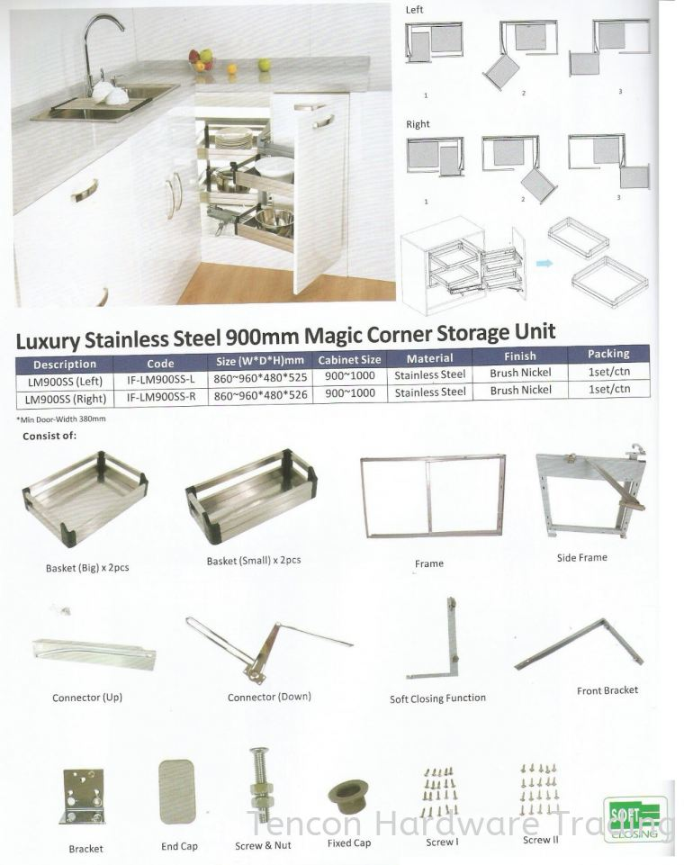 Luxury Stainless Steel 900mm Magic Corner Storage Unit Magic Corner Storage Unit eTen Furniture Hardware