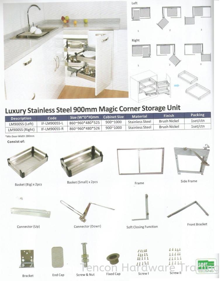 Luxury Stainless Steel 900mm Magic Corner Storage Unit Magic Corner Storage Unit eTen Furniture Hardware
