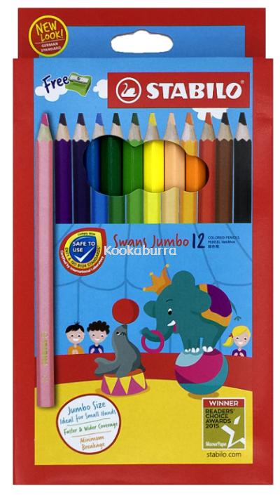 Stabilo Swans Jumbo 12 Coloured Pencils