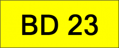 Number Plate BD23 Superb Classic Plate