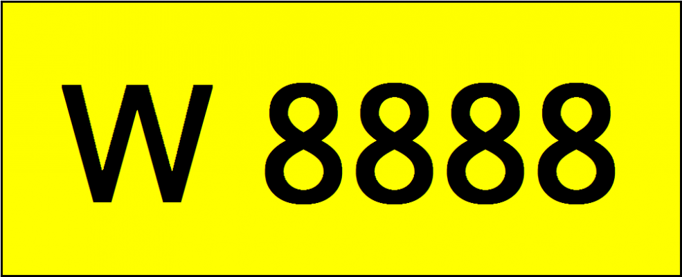 Number Plate W8888