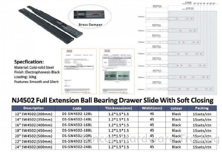 Full Extension Ball Bearing Drawer Slide With Soft Closing Slide eTen Furniture Hardware