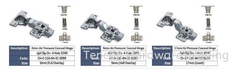 Air Pressure Conceal Hinge Conceal Hinge eTen Furniture Hardware