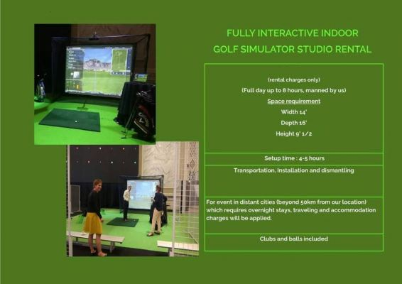 Fully Interactive Indoor Golf Simulator Studio Rental Per Day Rental with Installation and Dismantle