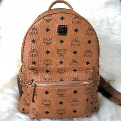 (SOLD) MCM Stark Classic Small Backpack in Classic Brown