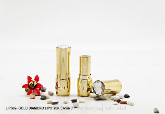 LIPS02- GOLD + DIAMOND LIPSTICK CASING