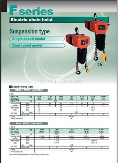 Hitachi F Series Electric Chain Hoist (Suspension type)