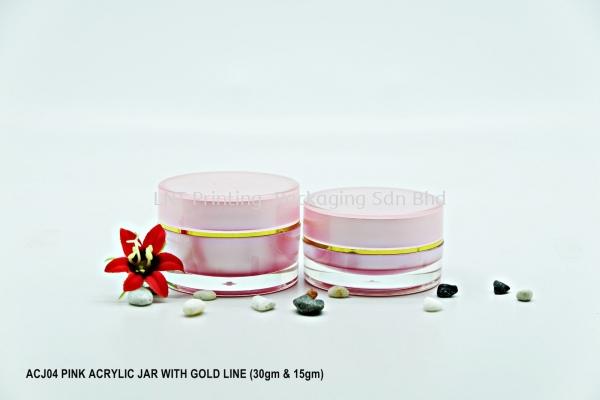 ACJ04 PINK ACRYLIC JAR GOLD LINE