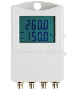Thermometer 3 chann.+1 binary input with display