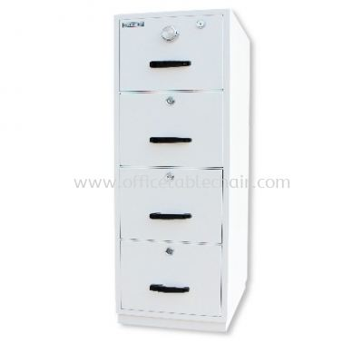 FIRE RESISTANT CABINET 4 DRAWER (INDIVIDUAL LOCKING) SAND BEIGE COLOR SIDE VIEW