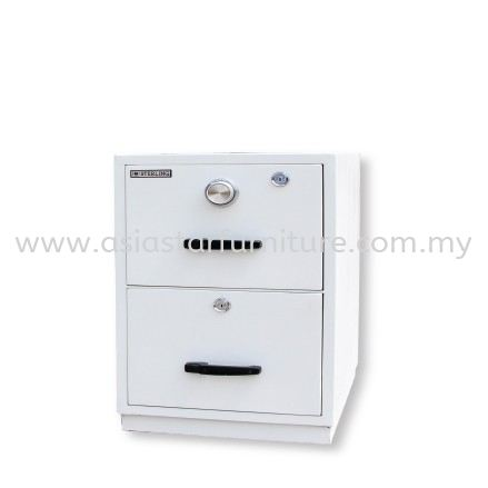FIRE RESISTANT CABINET SAFETY BOX 2 DRAWER SAND BEIGE COLOR SIDE VIEW-safety box gombak   safety box batu caves   safety box kepong