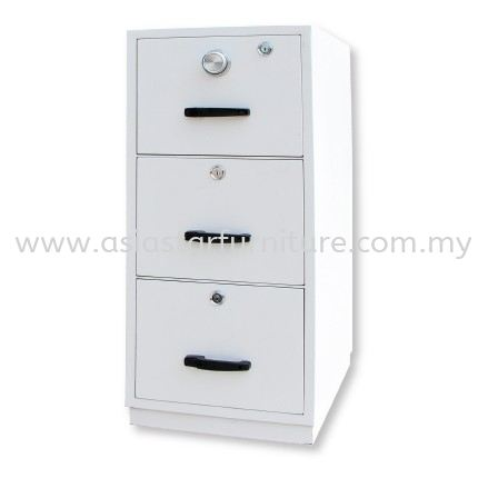 FIRE RESISTANT CABINET SAFETY BOX 3 DRAWER SAND BEIGE COLOR SIDE VIEW-safety box serdang   safety box balakong   safety box mahkota cheras