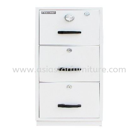 FIRE RESISTANT CABINET SAFETY BOX 3 DRAWER SAND BEIGE COLOR-safety box puchong   safety box sunway   safety box subang