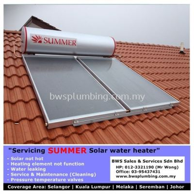 Summer Solar Water Heater | Install | Repair | Part Replacement - Kluang