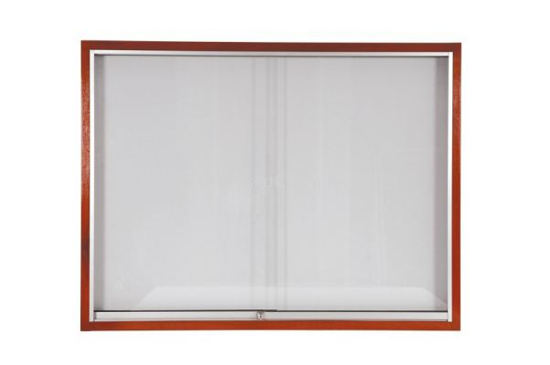 Wood Frame Whiteboard with Sliding Glass